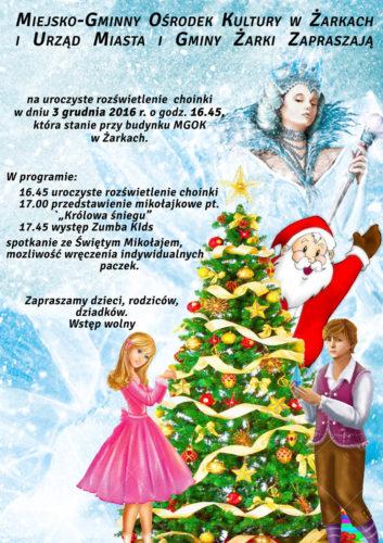 Rozświetlenie choinki, św. Mikołaj i przedstawienie 3 grudnia w Żarkach