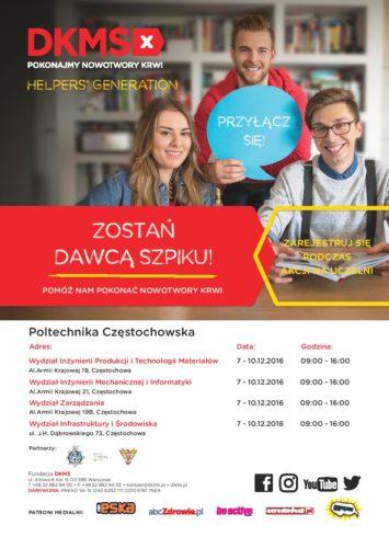 Akcja rejestracji potencjalnych dawców komórek szpiku - 7-10.12