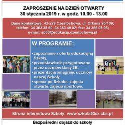 Dniu Otwartym Szkoły Podstawowej nr 53 z Oddziałami Integracyjnymi w Częstochowie - 30.01.2019